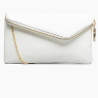 Clutch With Asymmetrical Zipper Flap - White