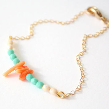 Coral Reef  Turquoise 14K GF Charm Bracelet