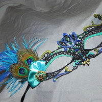 Soft Lace Black Masquerade Mask with Peacock Feathers, Peacock Colored Stones and Turquoise Accents