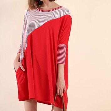 Umgee's 3/4 Sleeve Striped and Solid Dress with Pockets