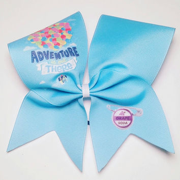 Adventure is Out There Cheer Bow- 3 Inch Texas Size - Cheer Party - Theme Practice - Birthday Gift - Ponytail Accessory