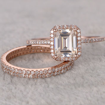 3pcs Emerald Cut Moissanite Engagement Rings Diamond Wedding Sets Rose Gold Full Eternity Thin Stacking 14K/18K