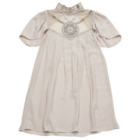 Temperley London Dresses Beige Shortsleeve Dress with Embellishments - StyleCaster