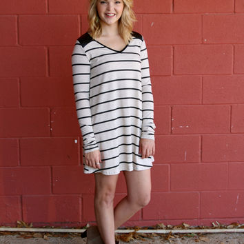 Edgy Stripe Tunic Dress - Black and Oatmeal