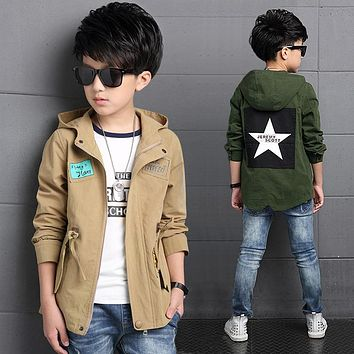 big boys clothes children jackets 2018 new spring autumn kids outerwear hooded letter pentagram windbreaker male child clothing