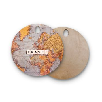"Sylvia Cook ""Travel Map"" World Round Wooden Cutting Board"