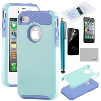 iPhone 4S Case, iPhone 4 Case, ULAK Fashion Case for iPhone 4S and iPhone 4 Cover with Screen Protector and Stylus (Light Blue/Purple)