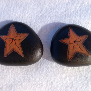Fall Primitive Star Paperweights - Painted Rock Fall Decor - Office Supply