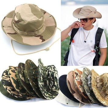 Men's Bucket Hat Boonie Hunting Wide Brim Camo Sun Men Cap Military Fishing