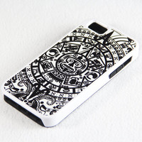 Black and White Ethnic Totem iPhone 5 + 4S + 4 + 5C + 5S Tough Rubber and Soft Case, iPod 5 + 4 Case