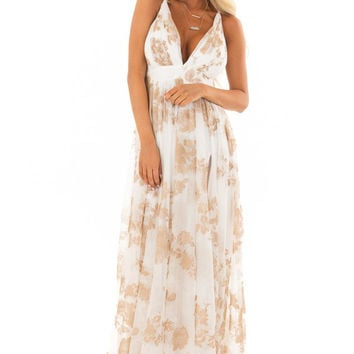 Nude and White Flowy Floral Maxi Dress