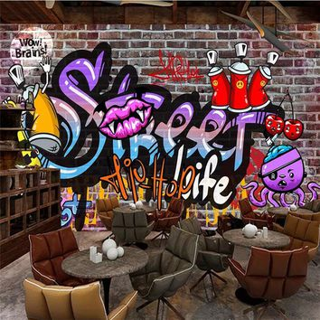 beibehang Custom wallpaper 3d photo mural street graffiti trend brick wall broken wallpaper bar ktv diba background 3d wallpaper