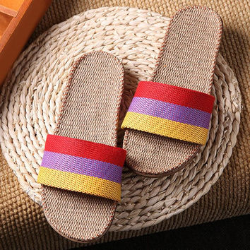 Summer Women Sandal Beach Shoes Patchwork Flat Heels Flip Flops Women beach shoes Sandals