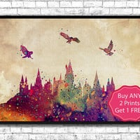 Hogwarts Castle 7 From Harry Potter Watercolor Art Print Archival Fine Art Print Home Decor Children's Wall Art Wall Hanging Birthday Gift