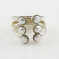 Pearl Two Tone Adjustable Ring