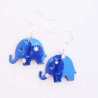 Blue with stars elephant earrings made from Fosters beer can  gift for her  soda can earrings  Handmade earrings  upcycled jewelry cute gift