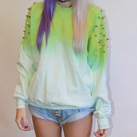Lime Ombre Studded Sweater