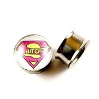 Bitch double Flared Ear Gauge Plug stainless steel -Sold as a Pair