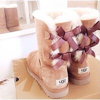 UGG Trending Bow Leather Print Letter Shoes Boots Winter Warm In Tube Boots Shoes I