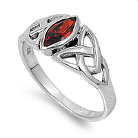 925 Sterling Silver CZ Wicca Pagan Triquetra Simulated Garnet Ring 9MM