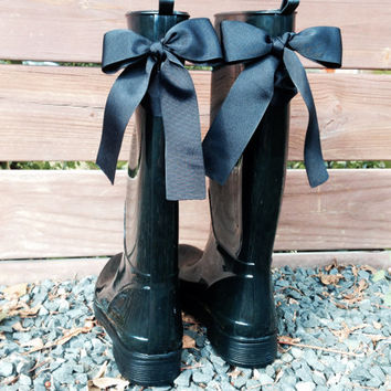 Custom Black Gloss Rain Boots with Large Black Bows
