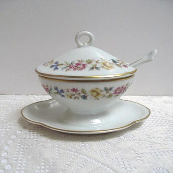 Vintage Mustard Pot Richard Ginori Porcelain Attached Under Plate Sorrento Pattern Condiment Dish