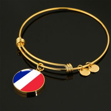French Pride - 18k Gold Finished Bangle Bracelet