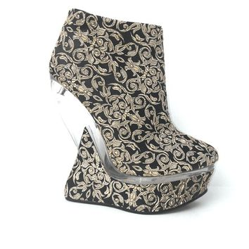 Embroidered Heel Less Curved Wedge Bootie In Black/Champagne Fabric|Thirteen Vintage