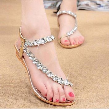 Women Bohemia Sandals Rhinestone Crystal Srting Bead Flats Lady Shoes Elastic Band PU Leather Wedges Slip-On Summer FashionShoes