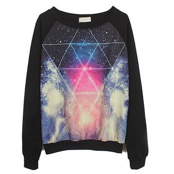 Galaxy Triangle Print Sweatshirt