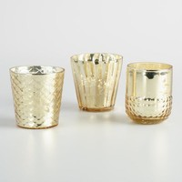 Gold Mercury Glass Votive Candleholders Set of 3