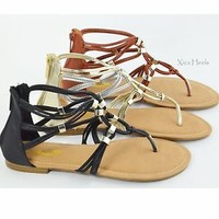 Womens Strappy Sandals Thong Strap Gladiator Sandals Gold Black or Camel New