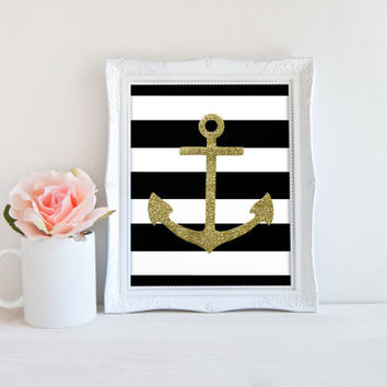 Gold Glitter Anchor Black and White Stripes Printable Sign, Digital Wall Art Template, Instant Download, Customizeable 8x10