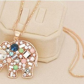 ESBUG3 Satr Jewelry Korean Fashion Jewelry For Women New Crystal Lucky Lovely Elephant Necklace Pednat Necklase Long Chain ¡ꡧWith Thanksgiving&Christmas Gift Box¡ê?= 1946092036