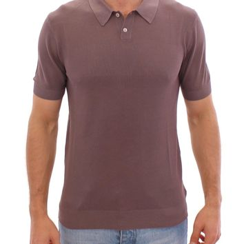Purple SILK Short Sleeve Polo T-shirt Top