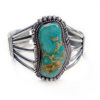 Vintage Navajo Blue Green Turquoise Cuff Bracelet in Sterling Silver // Navajo, Zuni, and Aztec Jewelry, Turquoise Bracelet Stamped N F