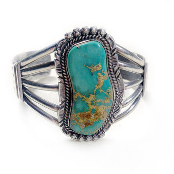 Vintage Navajo Blue Green Turquoise Cuff From Ruby And Juniper