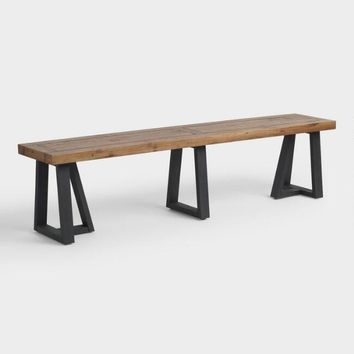 Reclaimed Pine Wood Alain Dining Bench