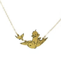 Kewpie® on Bird Necklace