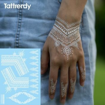 1sheet Trendy temporary arabic tattoo lace henna sticker choker fake tattoos wedding white black flash on hand new 2017 S1019
