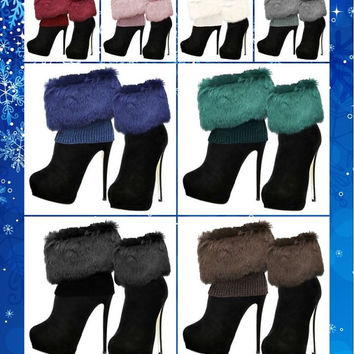 Women's Cozy Faux Fur Knitted Boot Toppers Fur Boot Cuffs USA SELLER, gift