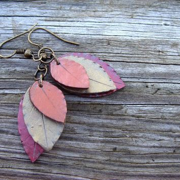 Leaf Earrings  Red Orange and Gold  Polymer Clay by JustClayin