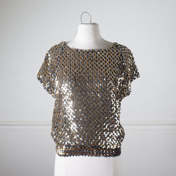 80s Sequin Top | Sequin Shirt Sequined Blouse Slouchy Top 80s Blouse 80s Top Boho Chic Disco Top Retro Glam 80s Shirt Trophy Top Club Kid