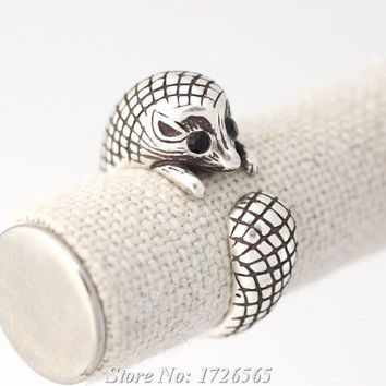 Resizable 1Pcs New Style Hippie Cute Spiny Rat Ring Boho Chic Brass Knuckle Anel Hedgehog Anillos Animal Rings For Women Men Fine Jewelry