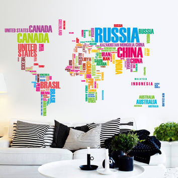 large world map wall stickers original zooyoo95ab creative letters map wall art bedroom home decorations wall decals SM6