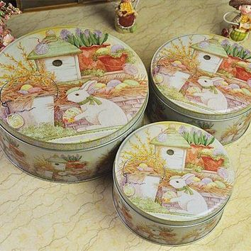 ICIKHNW Peter Rabbit Round Set Three Storage Tins Cookies Pastry Box Gift Boxes