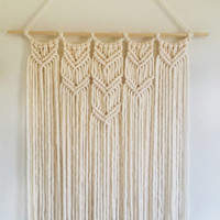 Cream Colored Handmade Macrame Wall Hanging