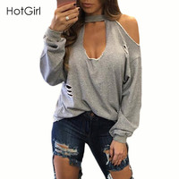 Nice Design Sexy Hole Two way wearing Top Tee Full Length O neck Casual Women T shirt Solid Front Hollow out Loose Cotton Shirt