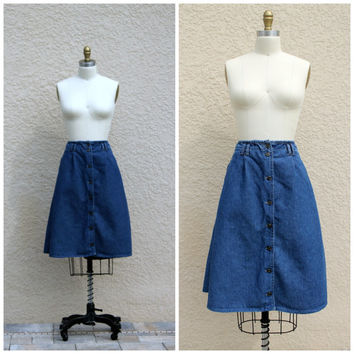 Vintage 80s Denim Skirt by Bugle Boy// Full Denim Skirt// Button Front Denim Skirt// Denim Midi Skirt//Skirt with Pockets// Summer Day Skirt