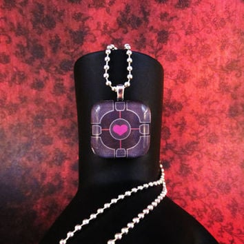 Companion Cube Portal Necklace by AngelElements on Etsy